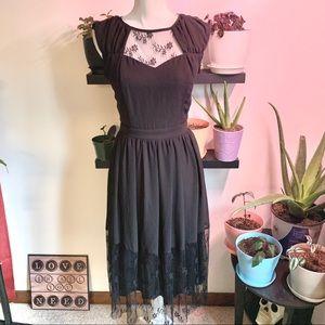 Mystic black dress lace detail